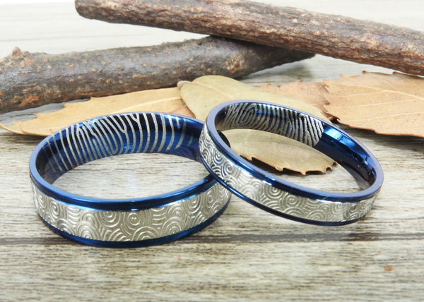 Your Actual Finger Print Rings, Handmade Blue Wedding Bands, Couple Rings Set, Titanium Rings Set, Anniversary Rings Set