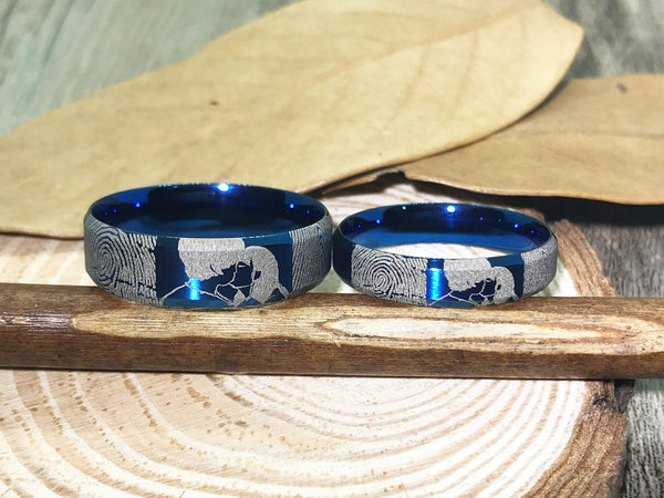 Handmade Fingerprint Comic Rings set, Love Rings, Kiss Matching Wedding Rings, his and her promise ring, Wedding Rings Set, couple rings - jringstudio