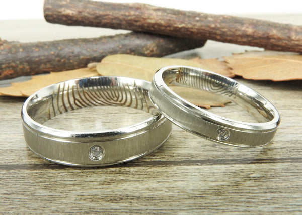 Your Actual Finger Print Rings, His and Her Rings, WEDDING RING - Handmade Matching Wedding Bands, Couple Rings Set, Titanium Rings Set