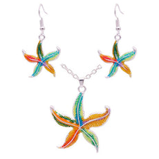 Enamel Starfish Necklace And Earrings Set