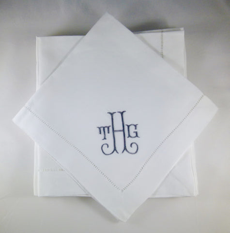 8 Made to Order Shirley Font Hemstitched Dinner Napkins