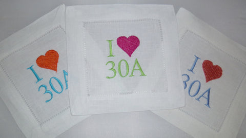 6 Made to Order 30A Cotton/Linen Blend Hemstitched Cocktail Napkins