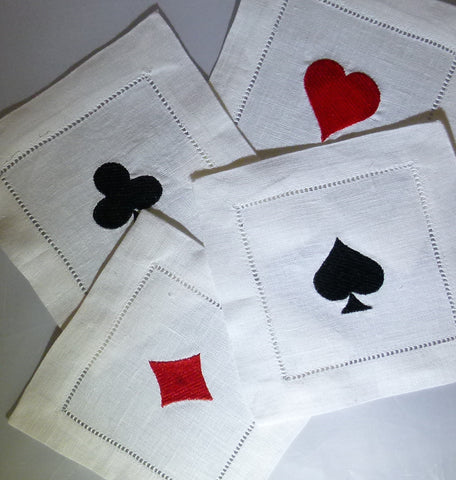 4 Made to Order Playing Cards Cotton/Linen Blend Cocktail Napkins