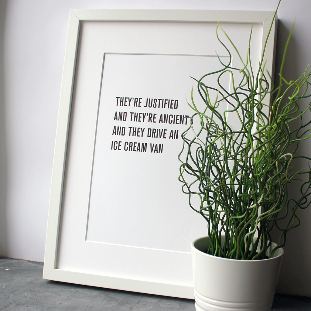 The KLF lyrics 'They're justified and they're ancient' are framed in a typographic design