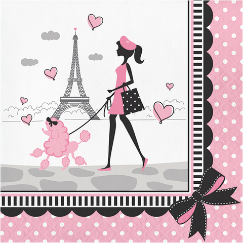 Paris Party Dinner Napkins, Little Girl Luncheon Napkins, Eiffel Tower Paper Napkins, Birthday Party Tableware (set of 16)