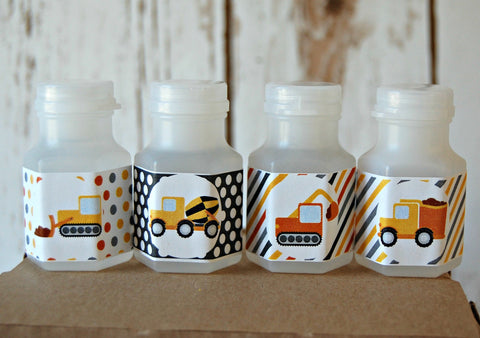 Construction Truck Theme Party Bubbles, Party Favor Bubbles, Construction Party Favor (set of 12) - We Bring the Party