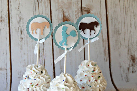 Chic Cowboy Silhouette Birthday Party Cupcake Toppers (set of 12) - We Bring the Party