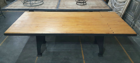 Dining Table with Bowling Lane Top and Industrial Legs