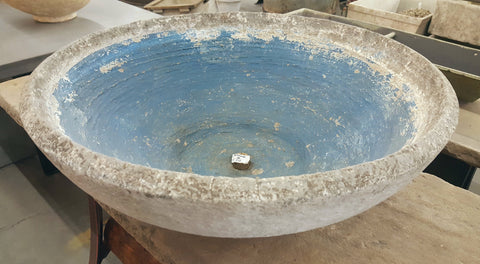 100 Year Old Blue French Basin / Planter