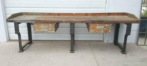 French Industrial Work Table with 3 Iron Legs and 2 Drawers