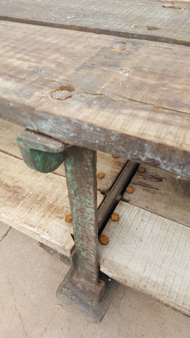 French Industrial Iron Table with Green Paint
