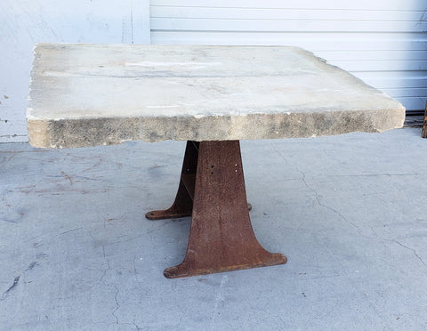 Coffee Table with Grindstone Top and Industrial Base
