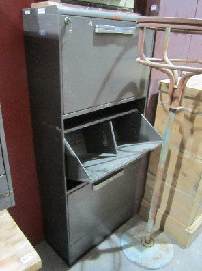 Cabinet with 3 stacked storage bins