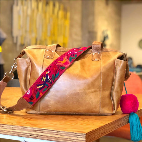 Leather Mayan Bag with Embroidered Strap