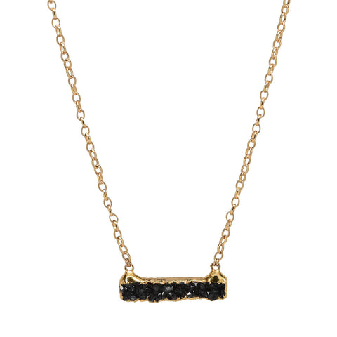 "Black Drusy Bar 20"" Necklace"