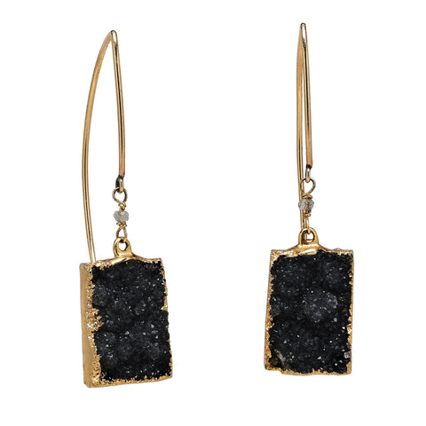 Black Drusy Rectangle Earrings