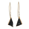 Black Drusy Triangle Earrings