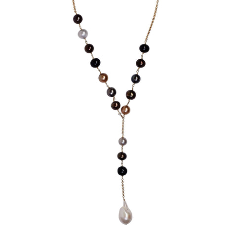 Multi-colored Pearl Necklace with Baroque Pearl Pendant