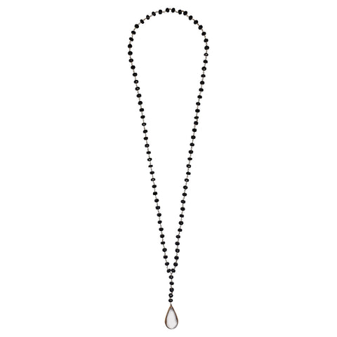 "Clear Quartz Teardrop Pendant 34"" Necklace with Black Spinel"