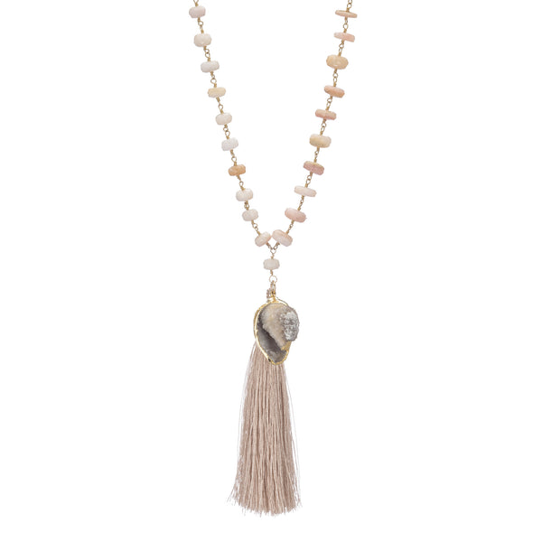 Pink Opal Necklace with Drusy Seashell & Tassel 34""