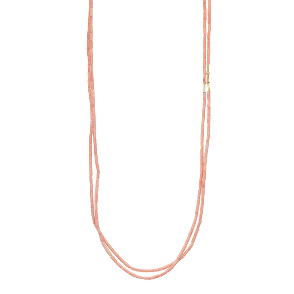 Coral Tube Bead Double Strand Necklace 32""