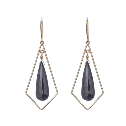 Chandelier Diamond-shaped Earrings with Black Spinel Teardrop