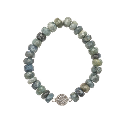 Moss Aquamarine and Pavé Diamond Bracelet