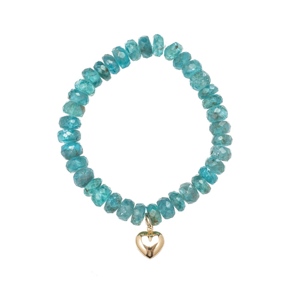 Apatite Bracelet with Gold filled Heart Charm