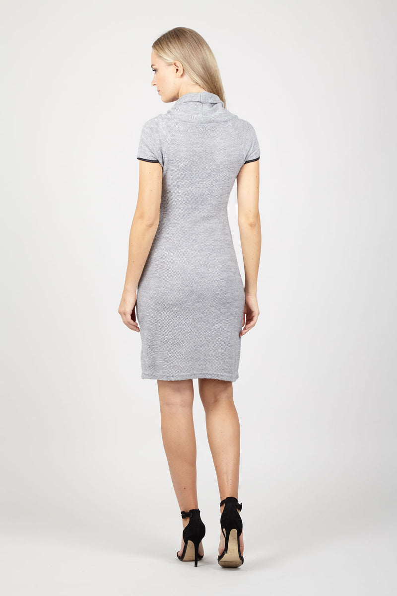 Grey | Roll Neck Knit Dress With Zip Details