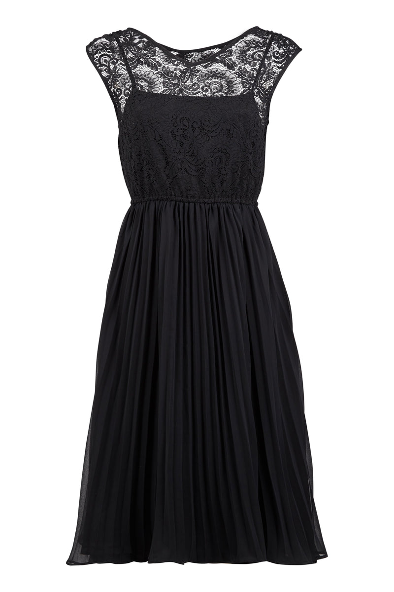 Black | Lace Overlay Pleated Dress