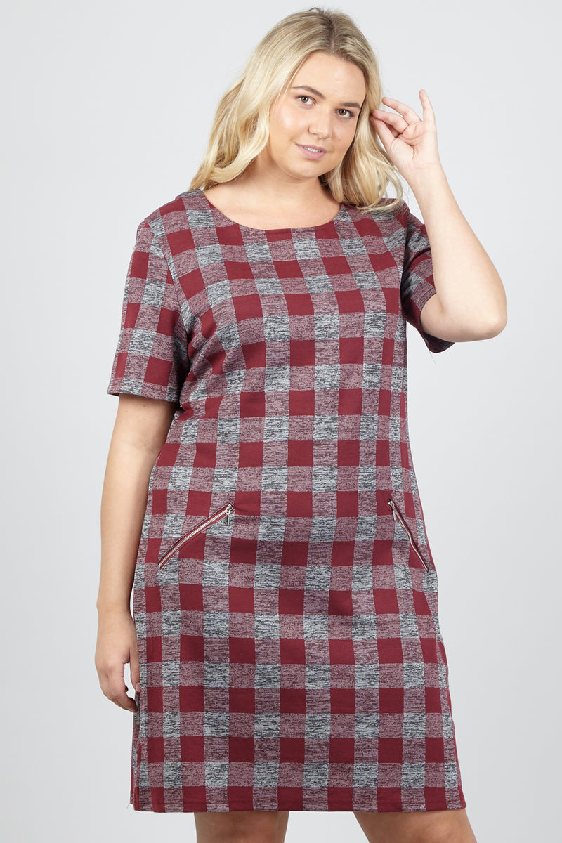 Red | Curve Checked Shift Dress