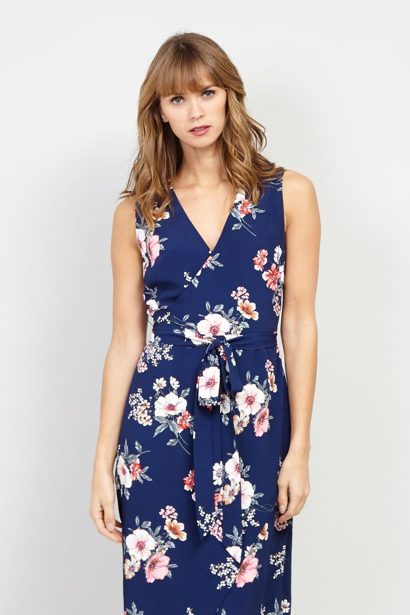 Navy | Floral Wrap Front Maxi Dress