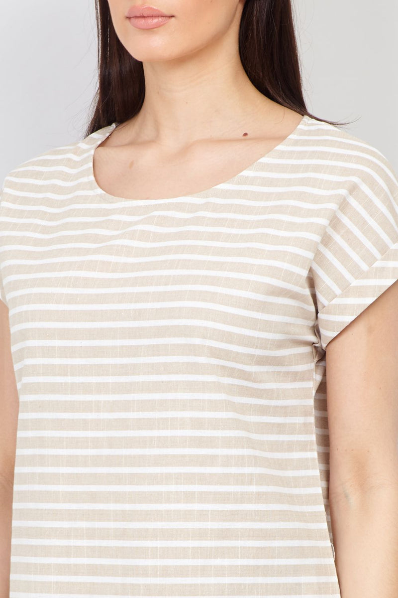 Beige | Striped T-Shirt Shift Dress