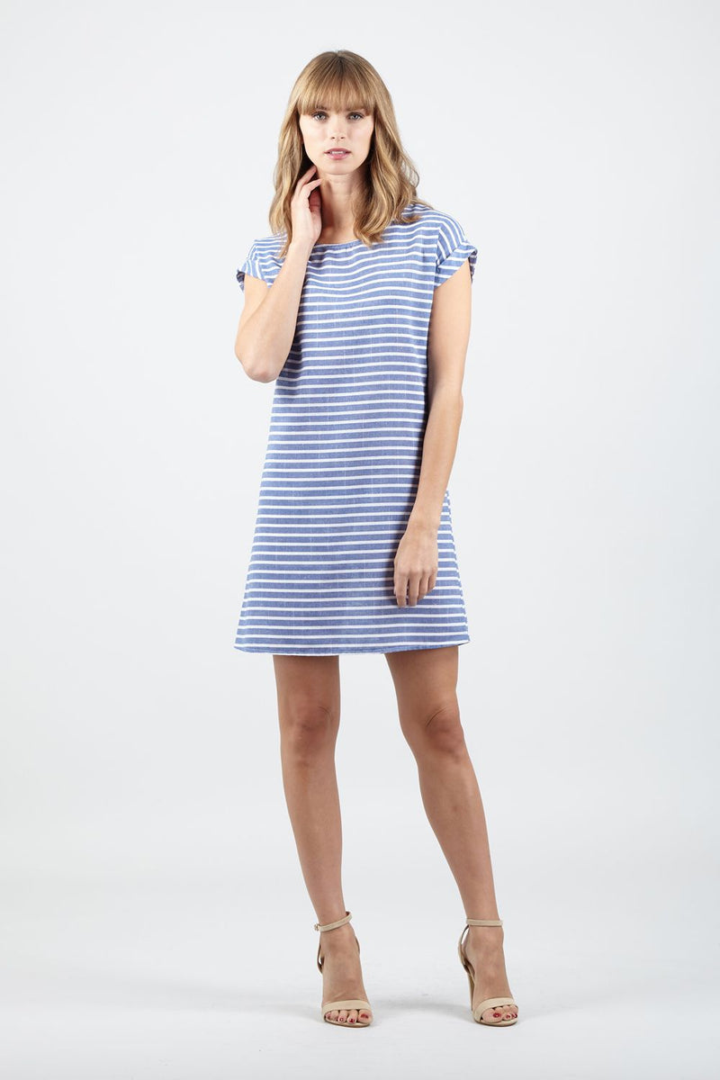 Blue | Striped T-Shirt Shift Dress