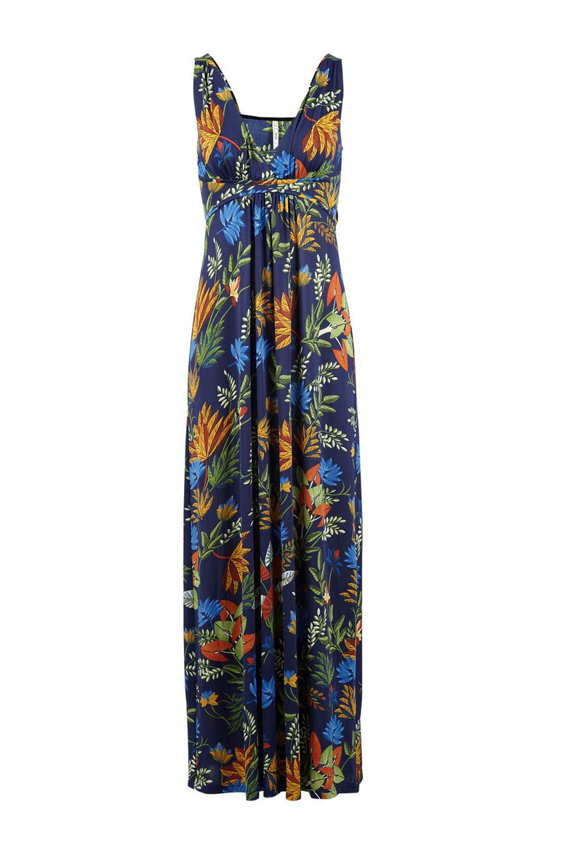 Navy | Tropical Print Plunge Maxi Dress