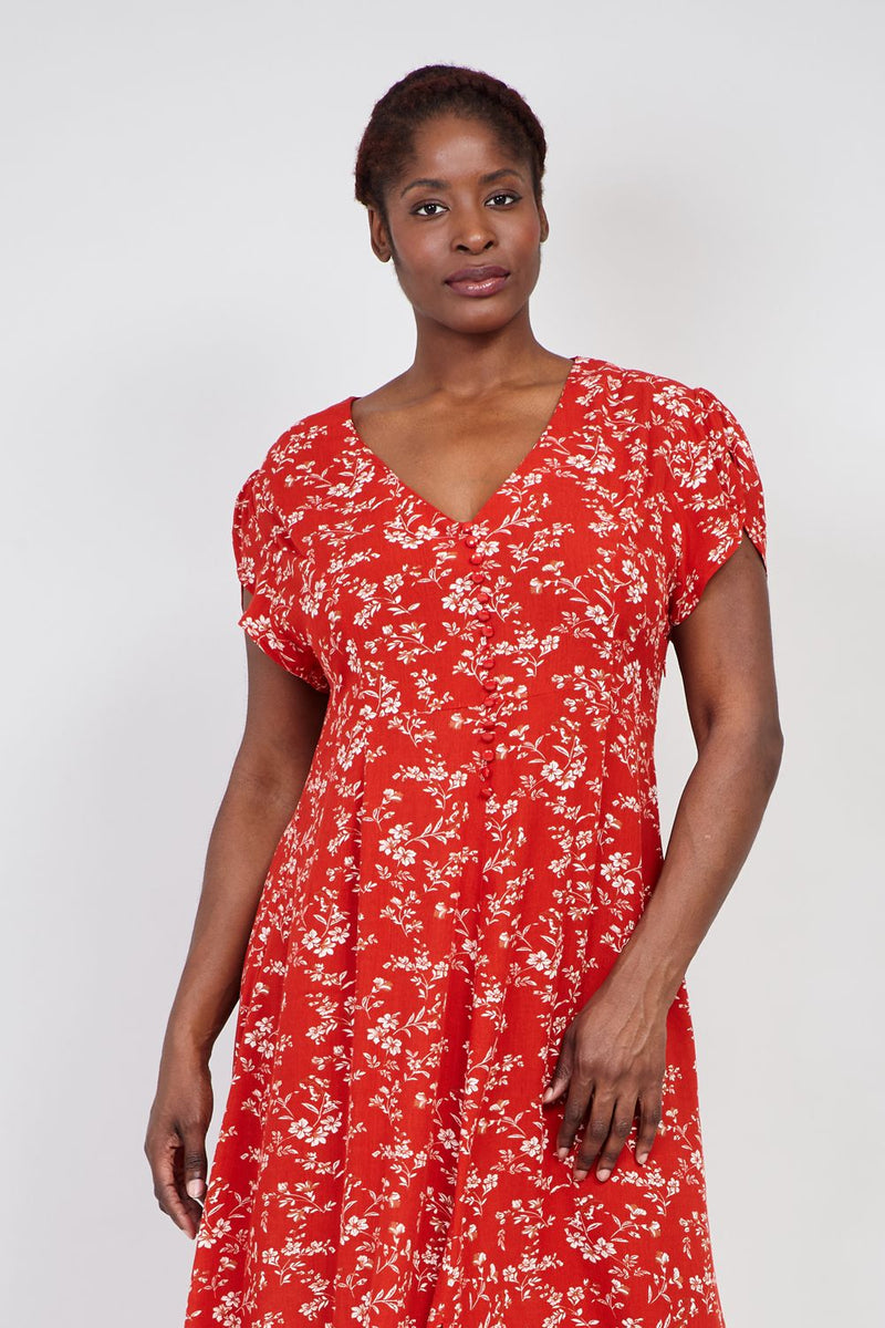 Red | Curve Floral Button Front Midi Dress