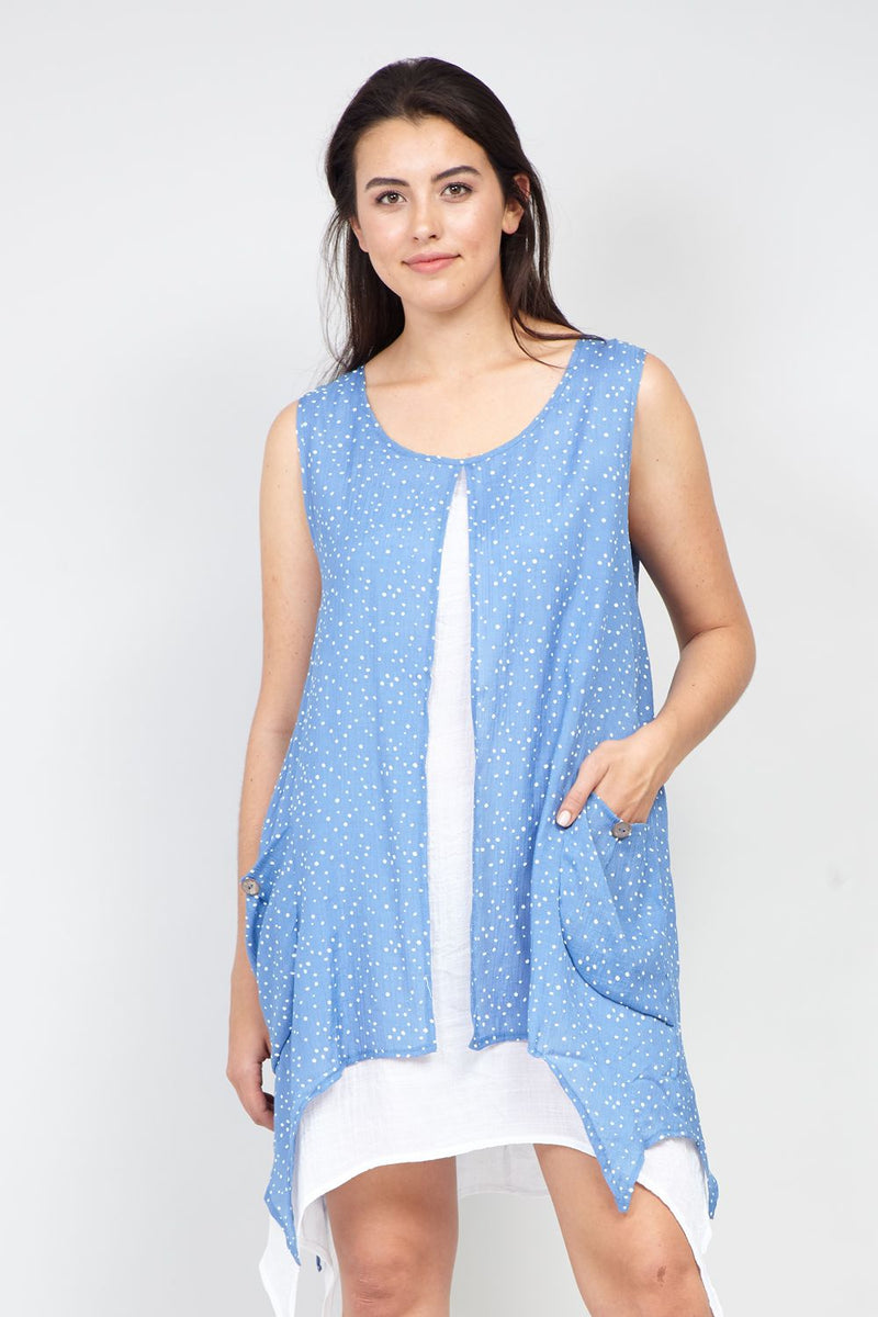 Blue | Curve Polka Dot Hanky Hem Tunic Dress