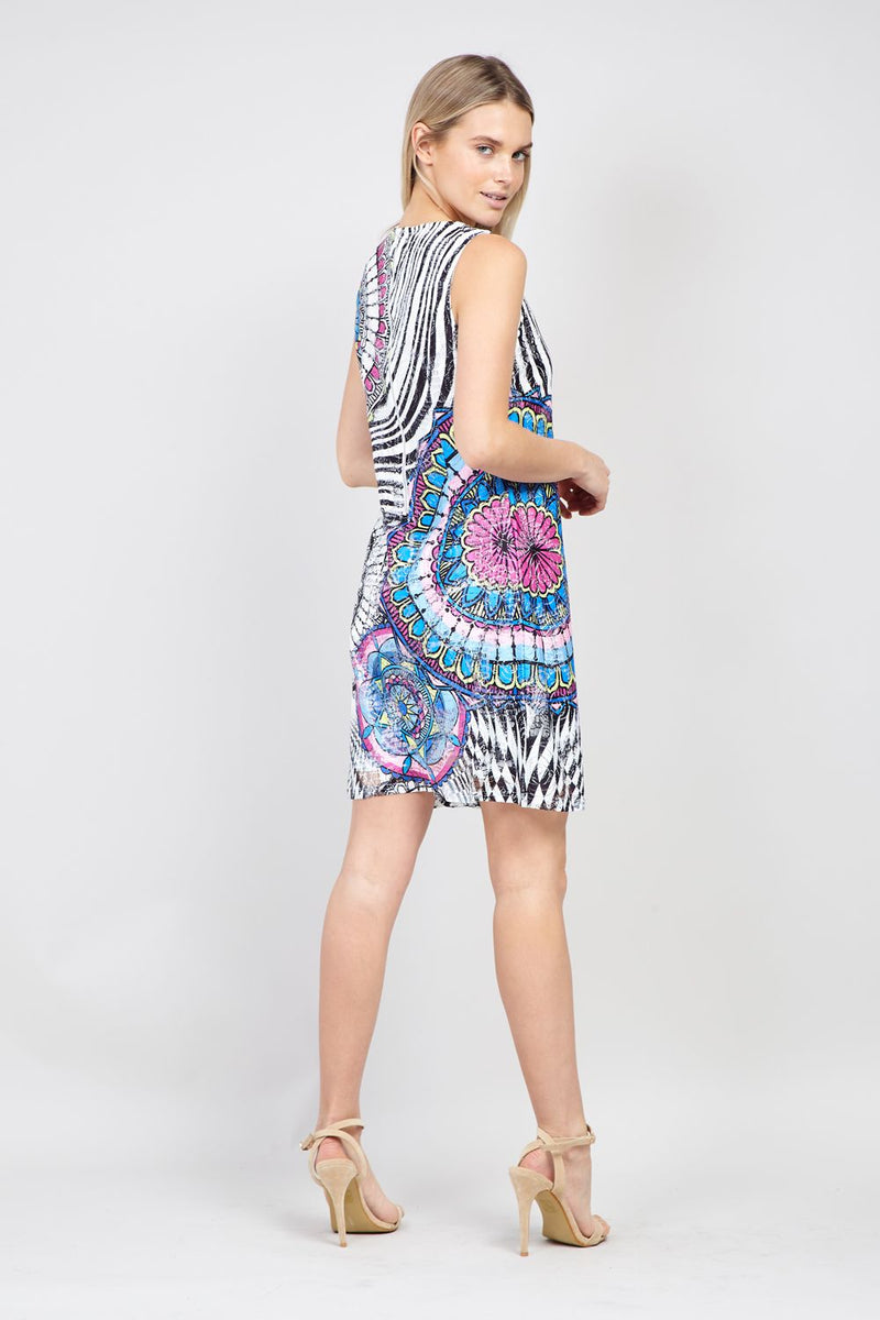 Blue | Mosaic Print Shift Dress