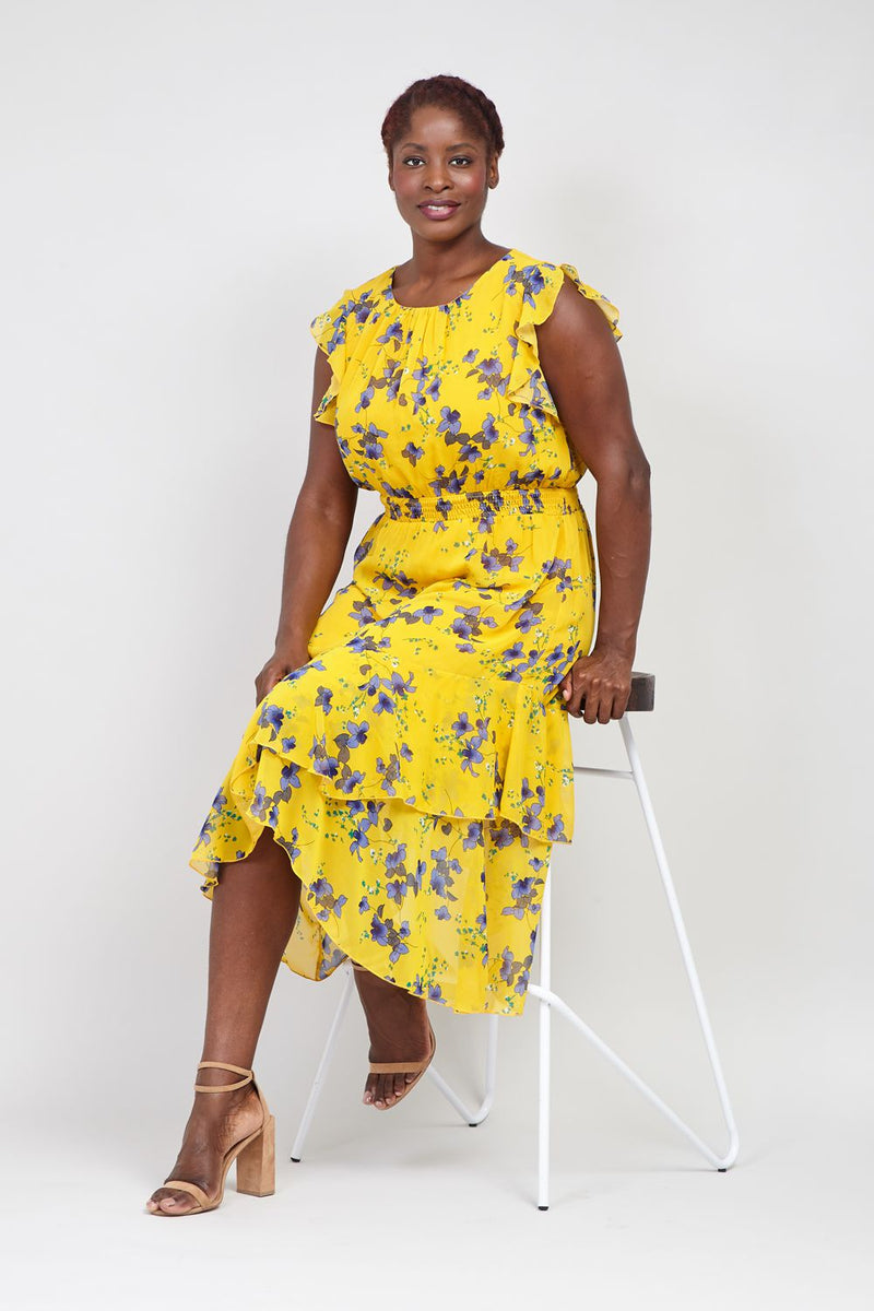 Yellow | Curve Floral & Frill Midi Dress