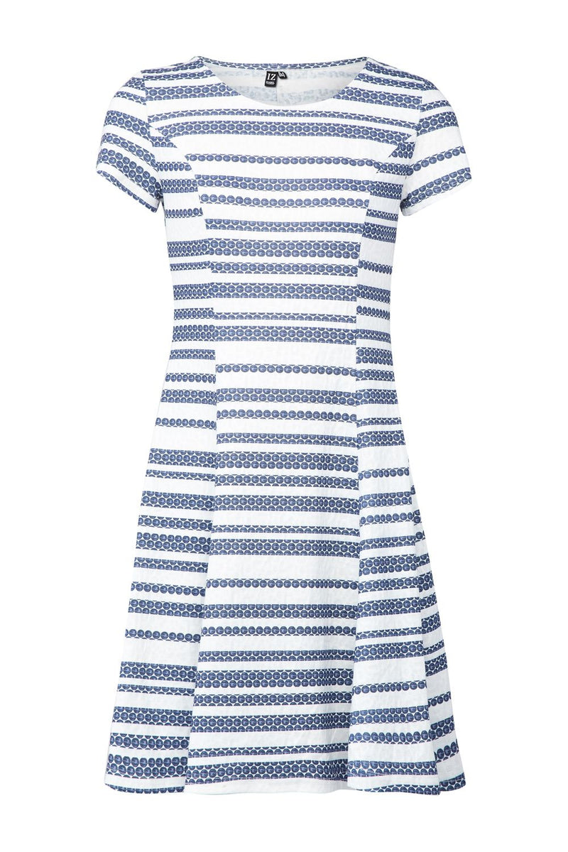 Navy | Striped Skater Dress