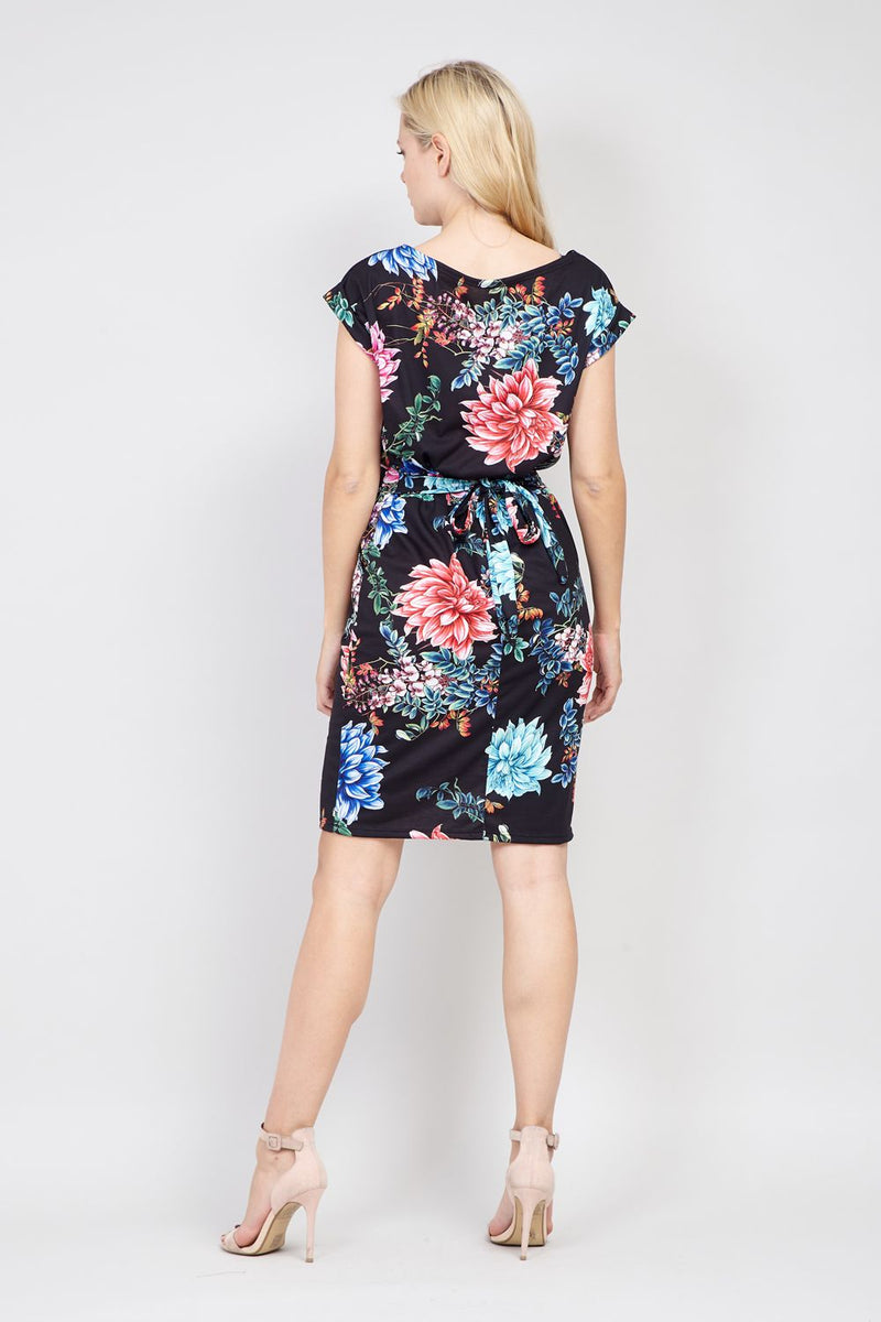 Black | Floral Tie Waist Shift Dress