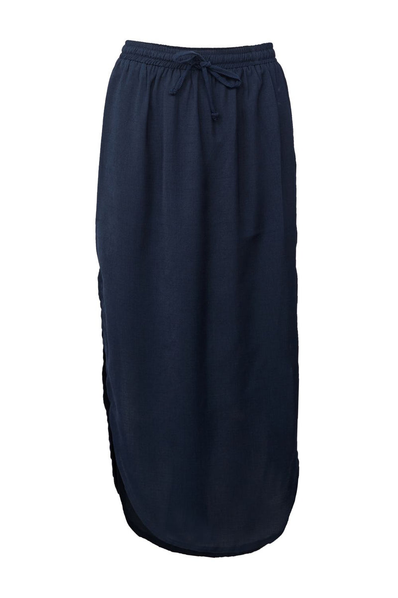 Navy | Curved Hem Midi Skirt