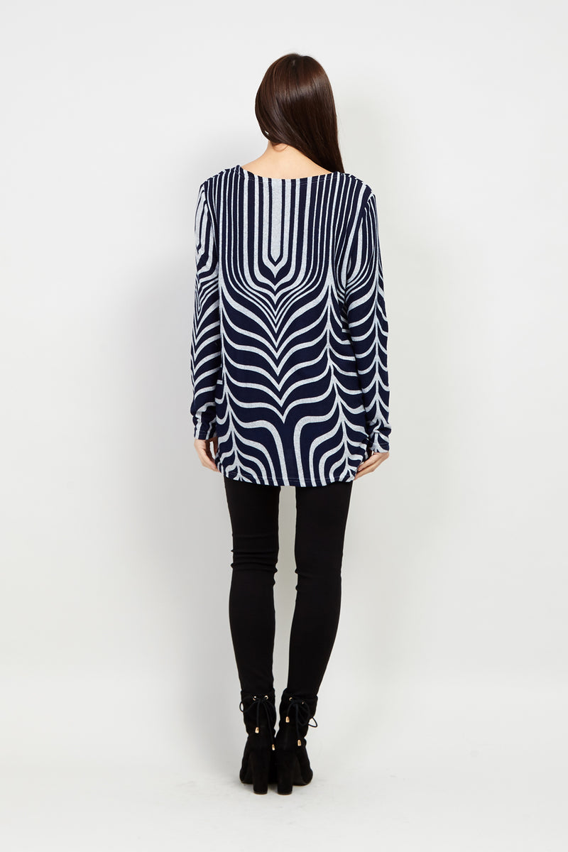 Navy | Abstract Print Sweater Top