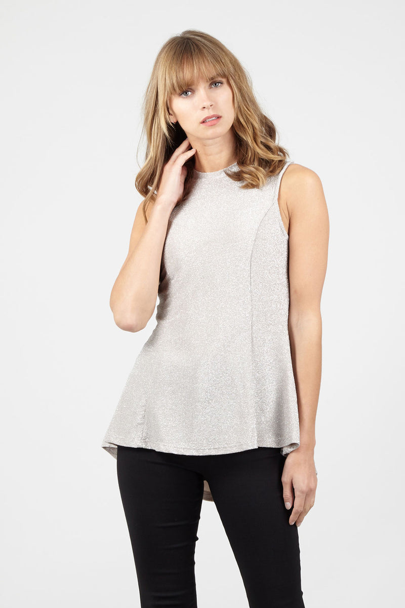 Silver | High Neck Sparkly Peplum Top