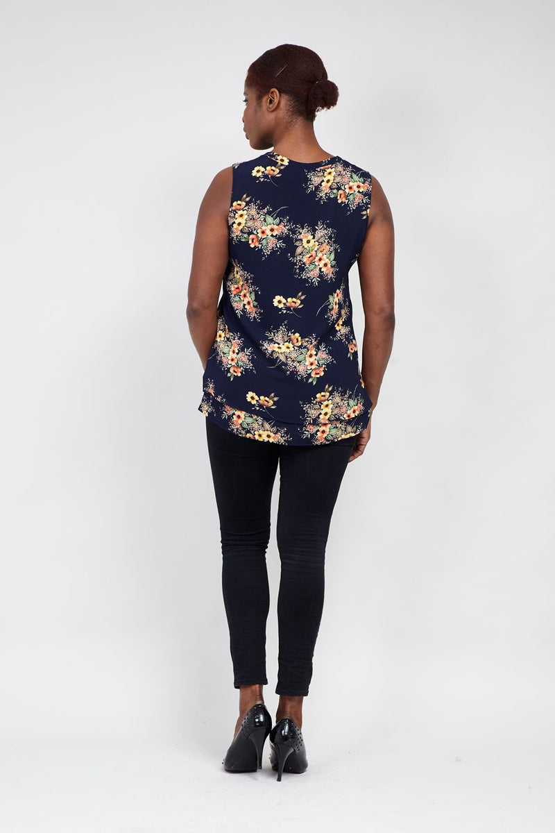 Navy | Curve Flower Tunic Top