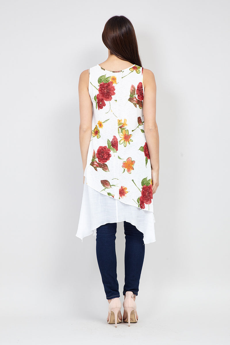 White | Layered Hem Tunic Top