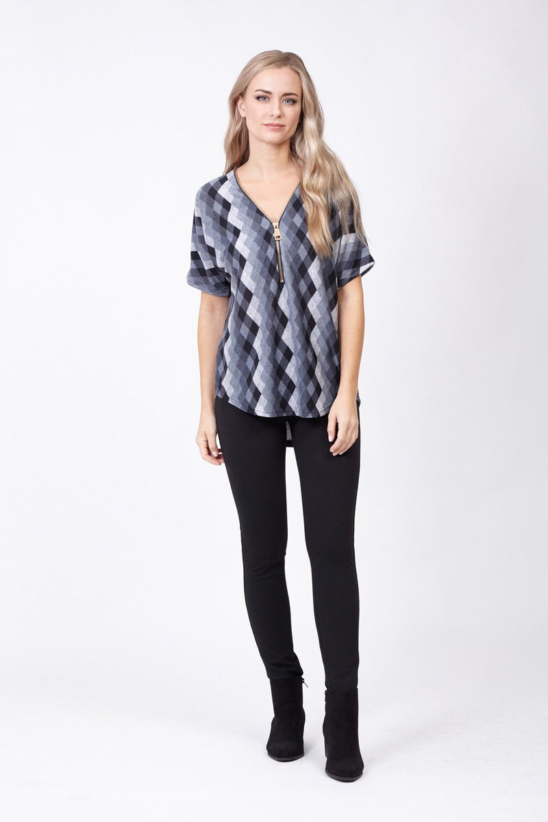 Grey | Blurred Check Tunic Top
