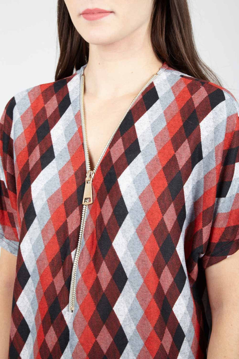 Red | Blurred Check Tunic Top