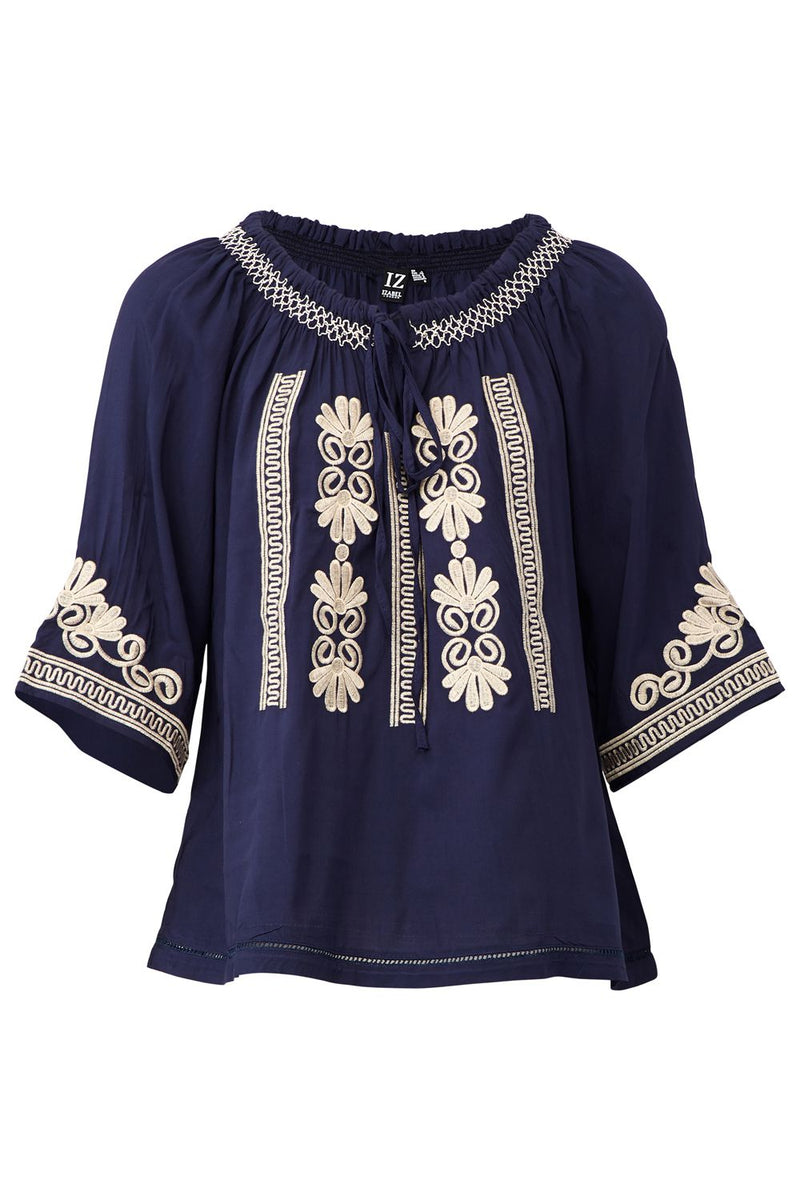 Navy | Embroidered Peasant Top