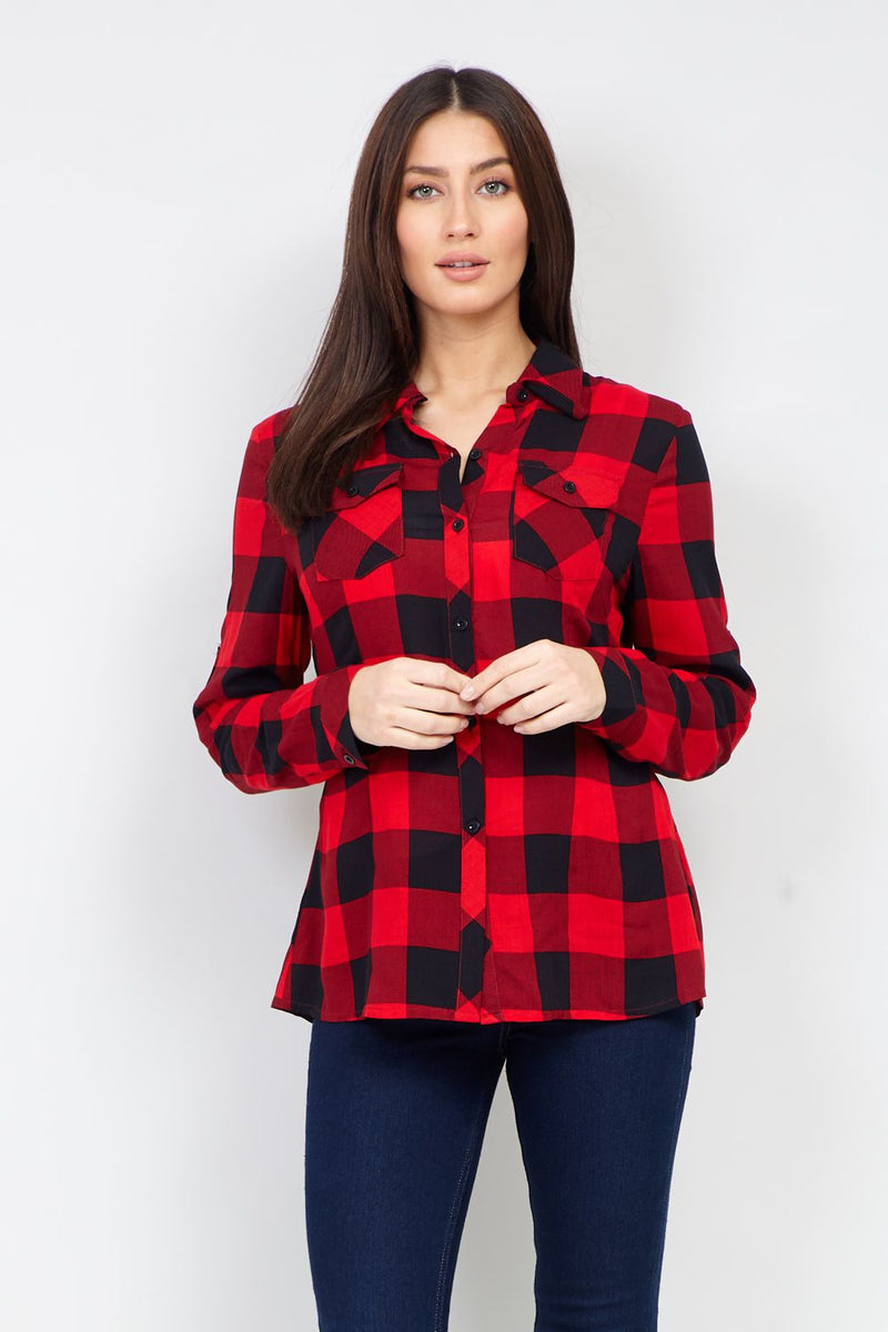 Red | Check Print  Button Up Shirt